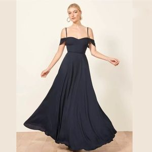Reformation Poppy Navy Floor Length Dress